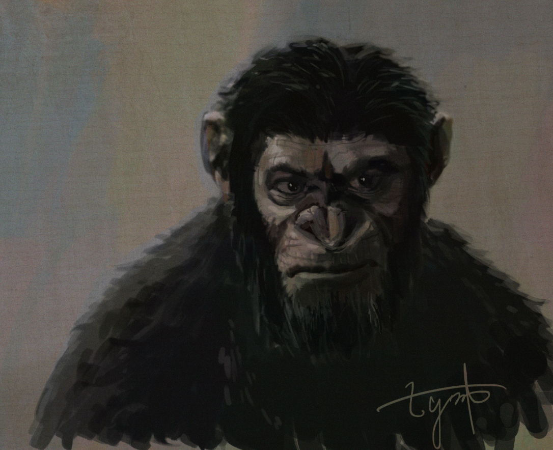 Digital Portrait: Caesar - from the movie Planet of Apes