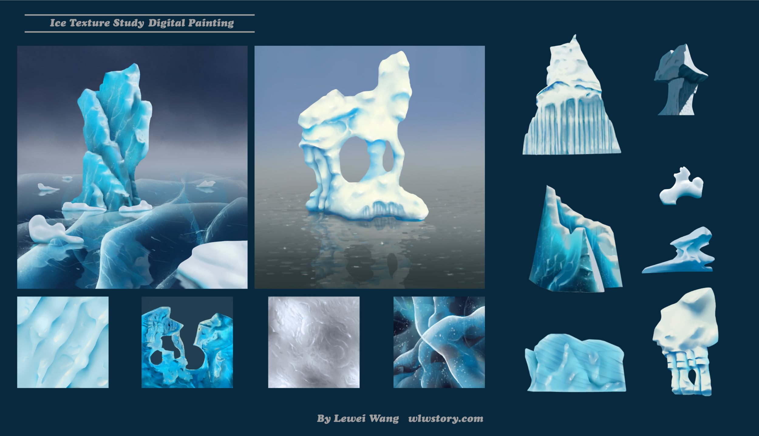 Ice study, including: (1) Texture study of ice surface; (2)Shape study of ice &snow; (3)Icebergs incorporating various textures and shapes of ice & snow. Digital paintings using Photoshop & Illustrator.  This study is inspired by the  ice properties study  of Alexei Nechytaylo for the movie  Arthur Christmas .