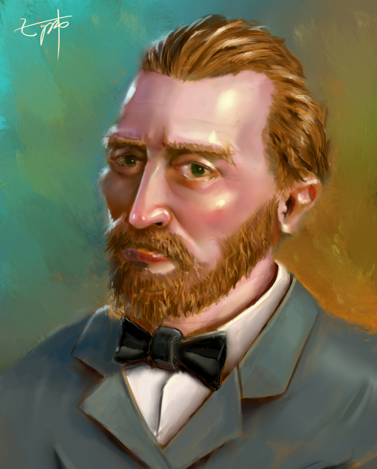 Digital Portrait:Vincent Van Gogh - Portrait painting based on Van Gogh's stylized self portrait and black-and-white photo. Inspired by the animated movie Loving Vincent.