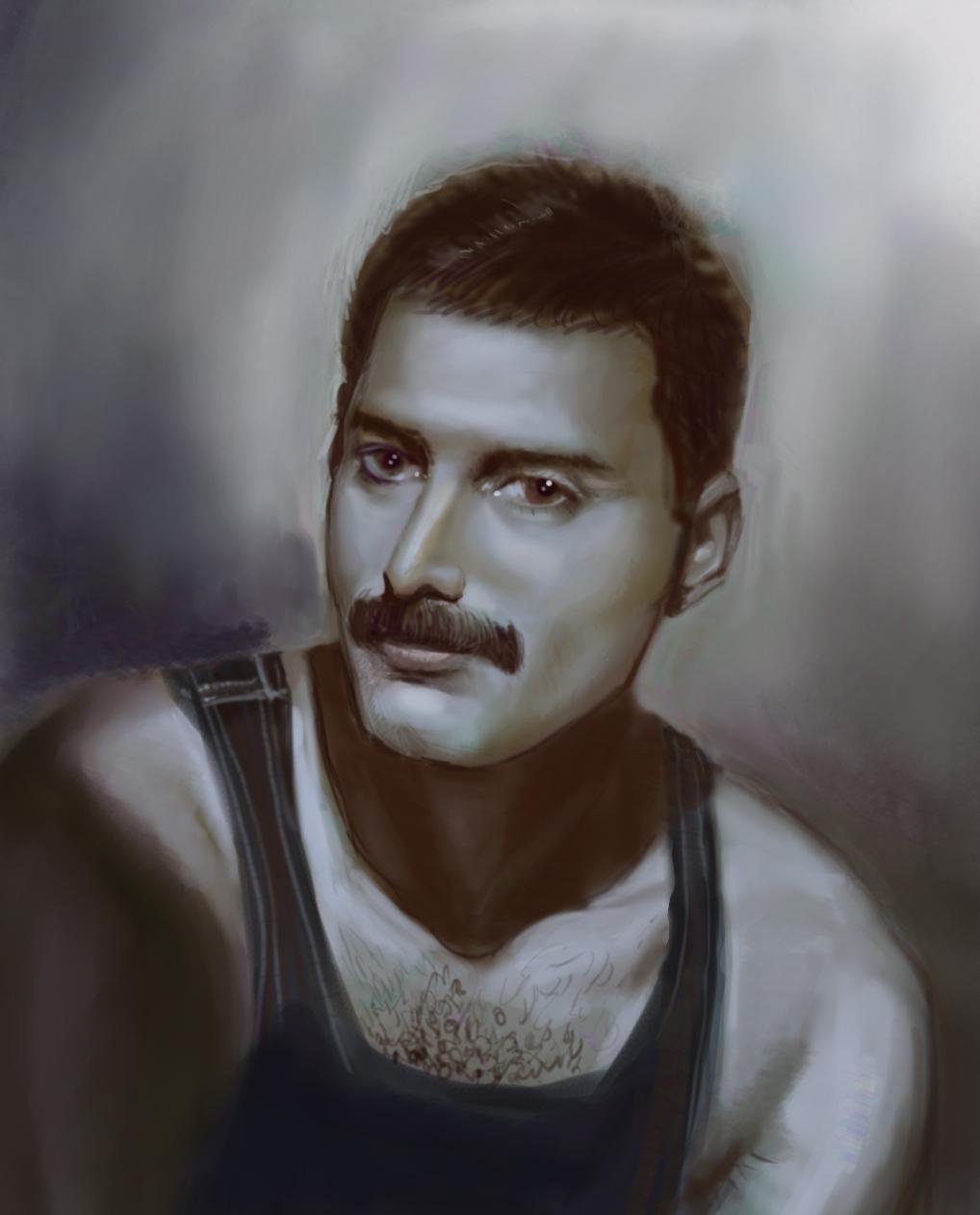 Digital Portrait: Freddie Mercury - A late night sketch after watching the movie: Bohemia Rhapsody.