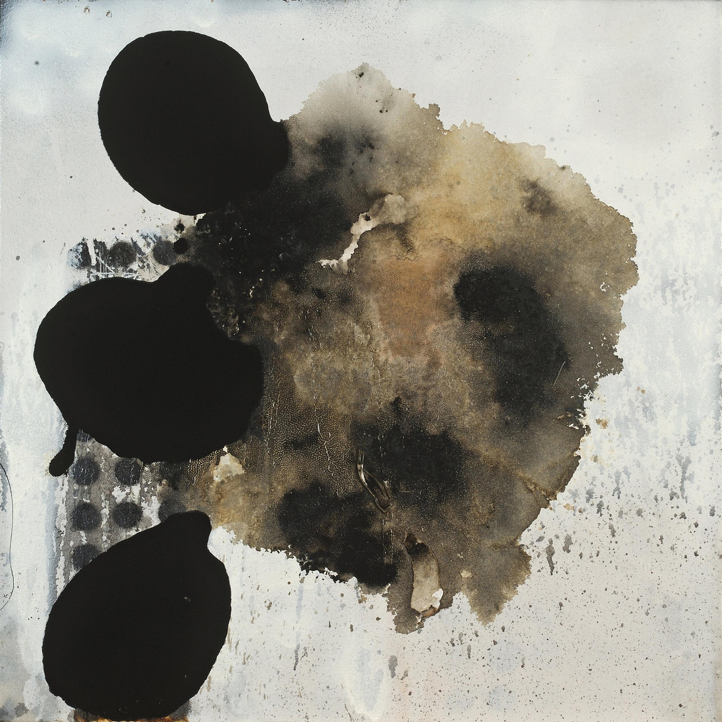 "Zina-Marina   oil, enamel, bitumen, aerosol and debris on canvas  23.75"" x 23.75""  2016"