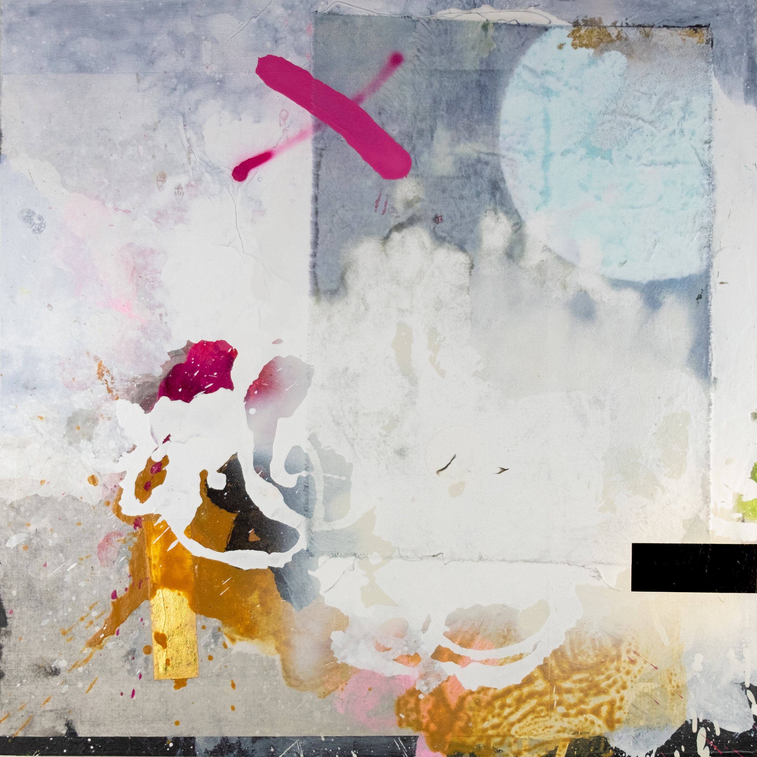 "Tantalus, no. 4   Acrylic, Collage, Aerosol and Gold Leaf on Panel  24"" x 24""  2019"