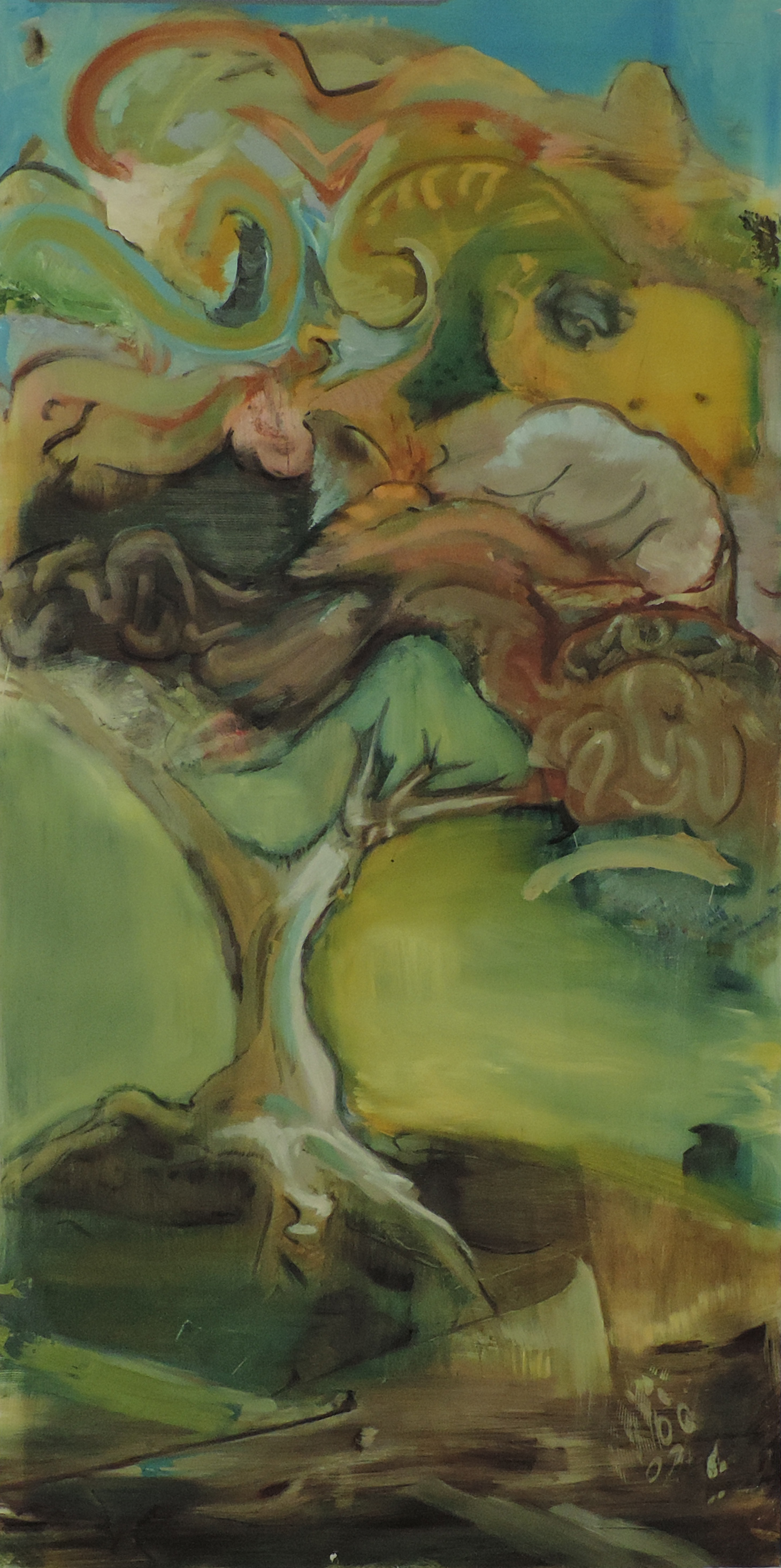 Make like a Tree, and fuck off.  oil on plexiglas. 49 inches x 25 inches