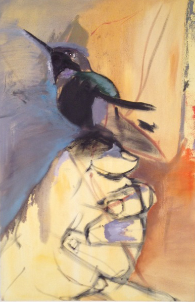 A Bird on Hand  oil on canvas. 36 inches by 24 inches
