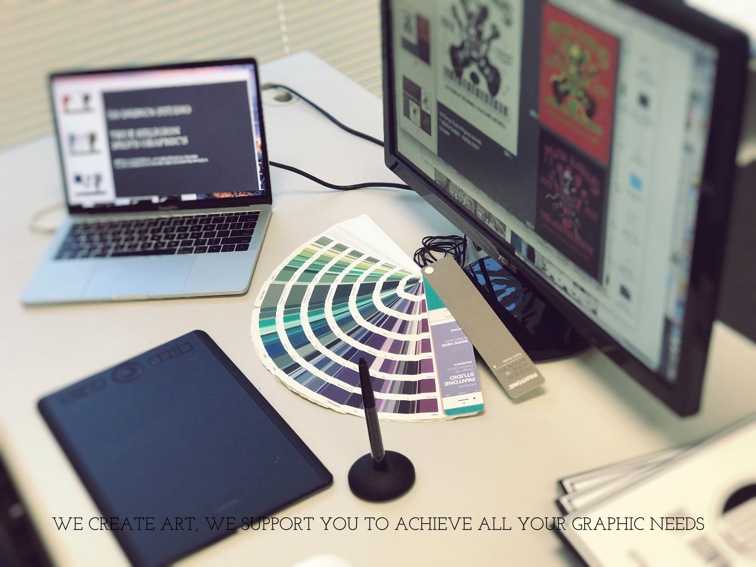 WE CREATE ART AND ALSO SUPPORT YOU TO ACHIEVE ALL YOUR DESIGN AND GRAPHIC NEEDS.