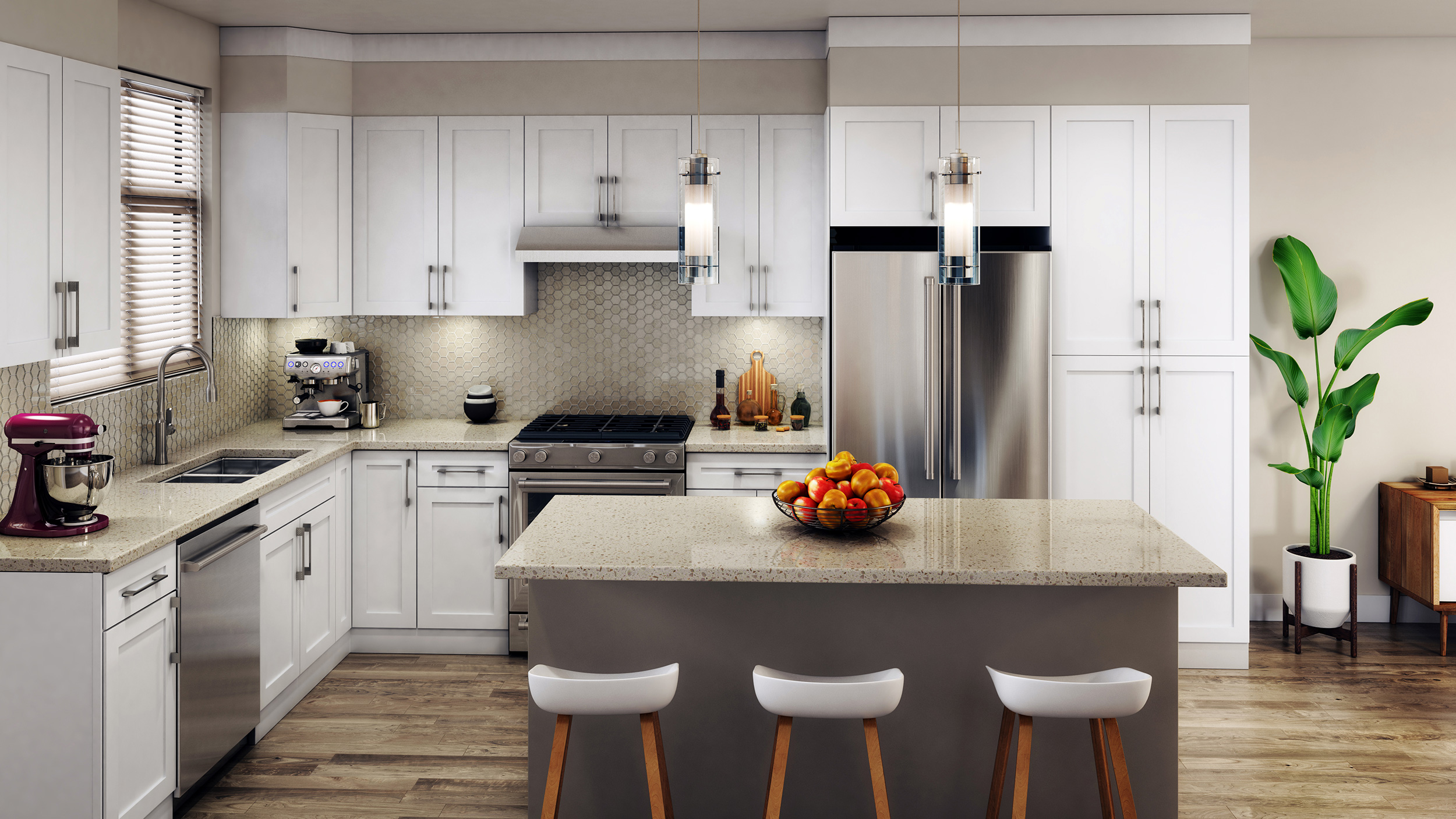 Our kitchens are finished with high quality materials and top of the line appliances