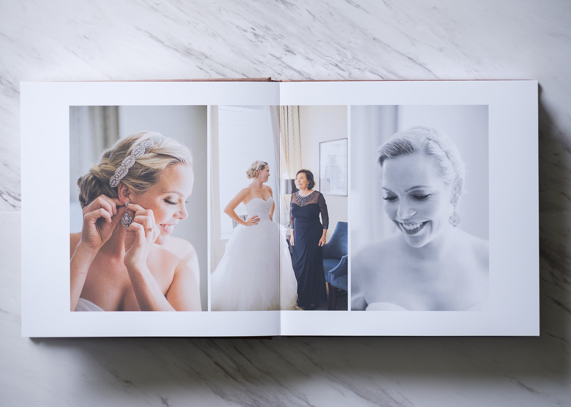 This is not your parents' wedding album. No slip-in prints, no tacky paper holding images in place