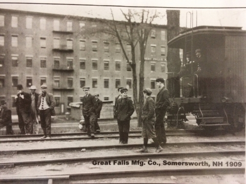 Workers outside the Great Falls Manufacturing company