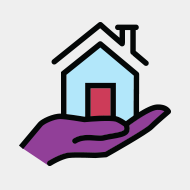A hand holding a house.