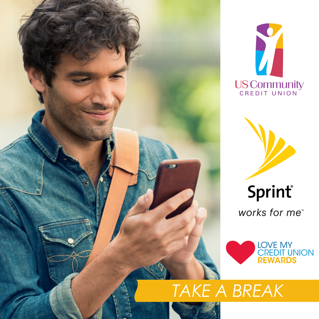 A smiling man looking at this smartphone.  Logos on the righthand side of the image are USCCU, Sprint, and Love My Credit Union Rewards.