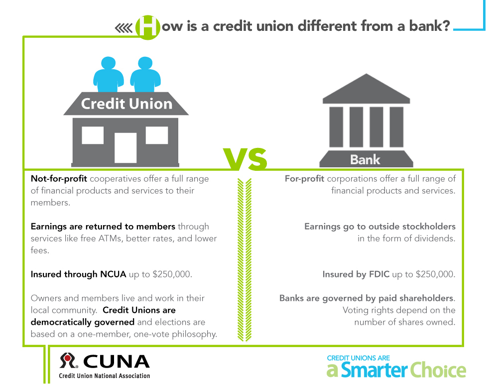 How is a Credit Union different from a bank chart