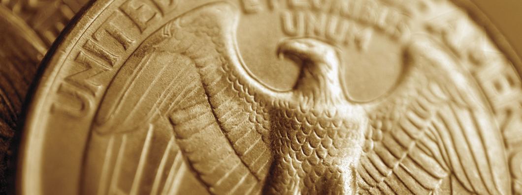 A closeup of a quarter