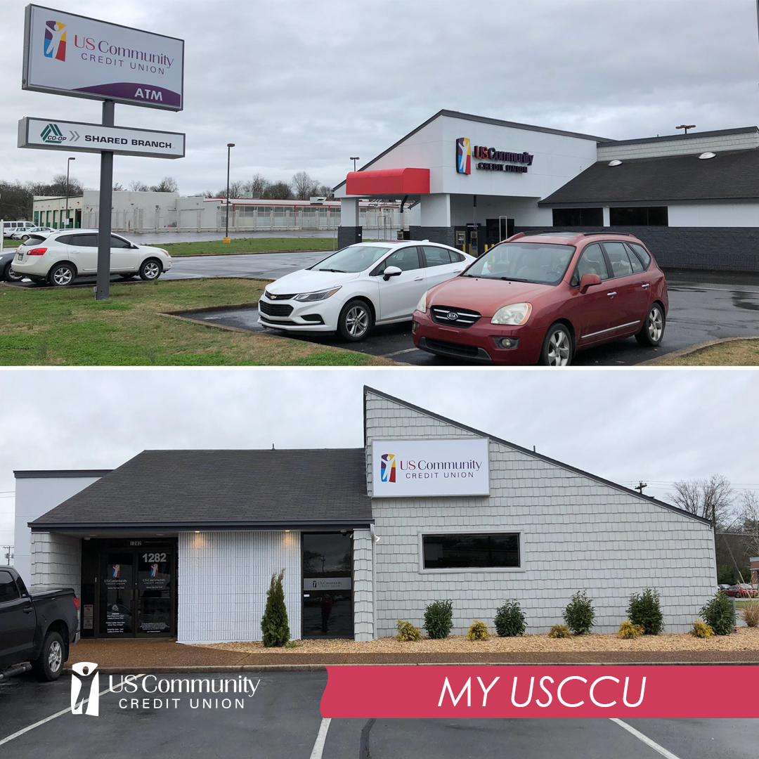 """Murfreesboro Branch exterior on a cloudy day.  Image label text reads """"My USCCU""""."""