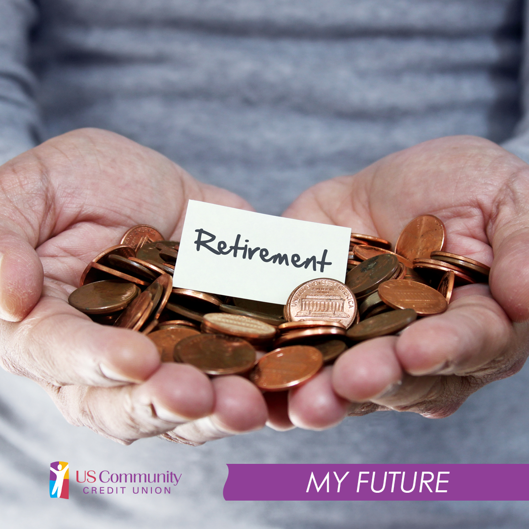 """A closeup of an old mans hands holding pennies and a note that reads """"Retirement"""""""