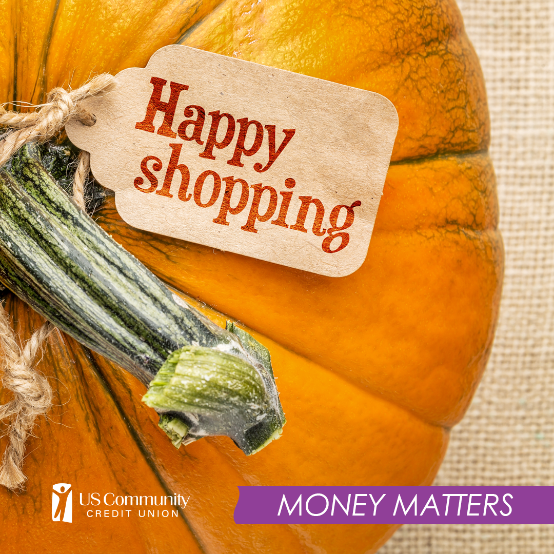 """A pumpkin with a """"Happy Shopping"""" label"""
