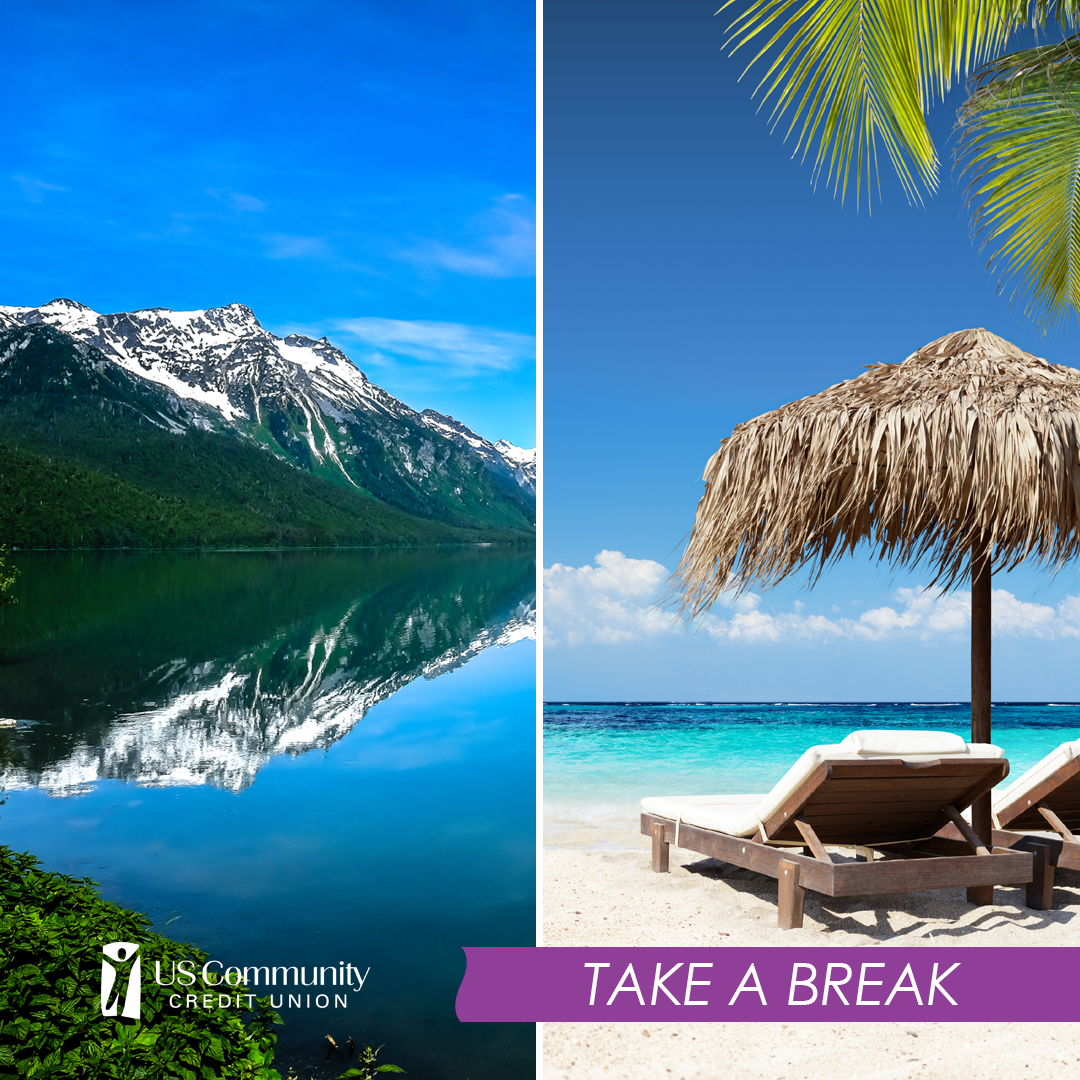 A split photo, with one half depicting the rocky mountains, and the other a beach with palm trees.