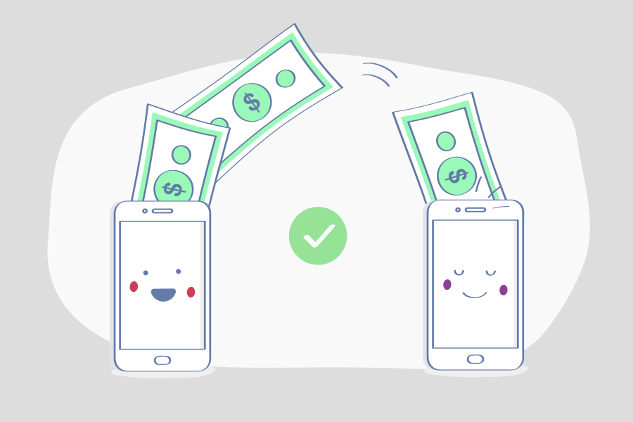 Animation of a smartphone sending money to another smartphone.