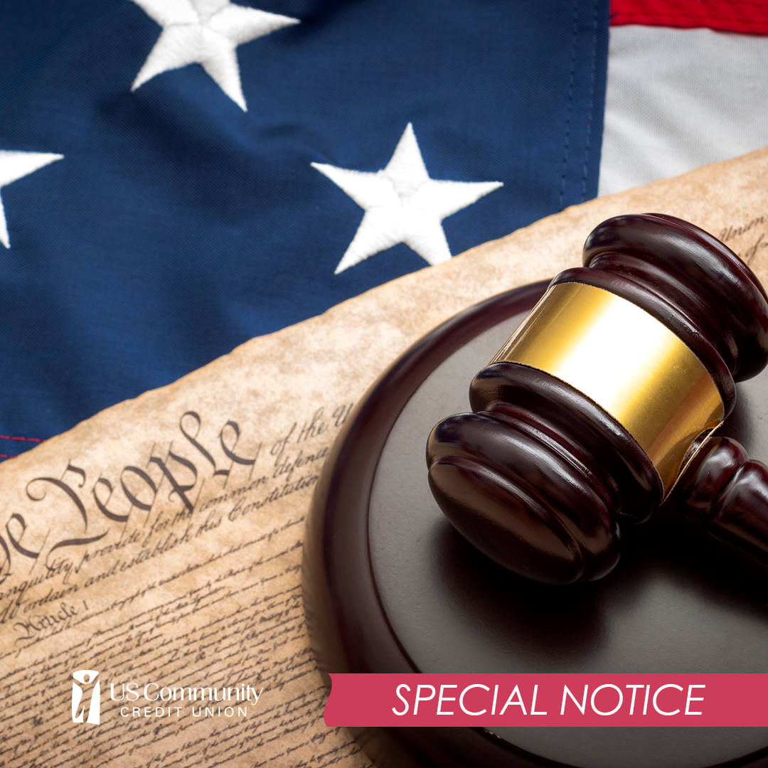Image of American flag, the constitution, and a gavel.