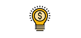Yellow Lightbulb representing a new idea, with a dollar sign inside of it.