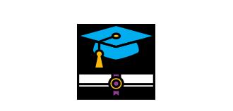 A graduation cap floating above a diploma.