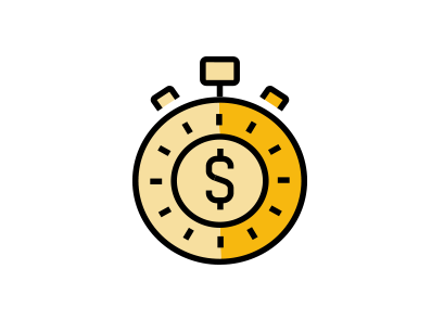 A stopwatch with a dollar sign in the middle, signifying time and money