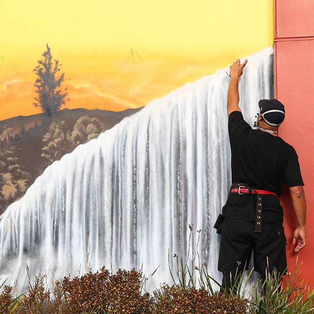 Finishing touches on the Rere Falls #farmlands #mrg #heartofthecommunitynz #gisborne #artistsoninstagram #contemporaryart #instaartist #urbanart #streetart #instaart #nzart