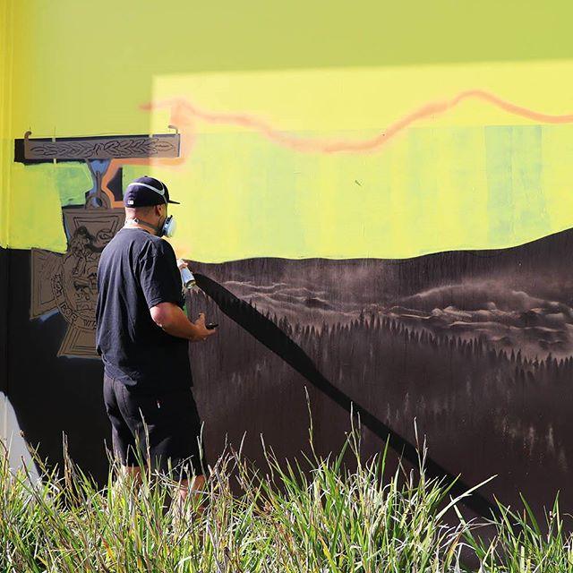 Chipping away #farmlands #mrg #heartofthecommunitynz #gisborne #artistsoninstagram #contemporaryart #instaartist #urbanart #streetart #instaart #nzart