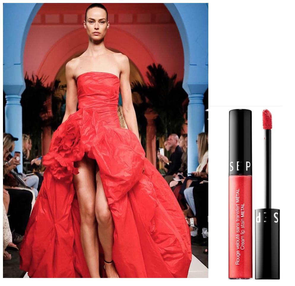 Satin - Diseñador: @oscardelarentaLabial: SEPHORA Cream Lip Satin Metallic Liquid en tono Red Magma