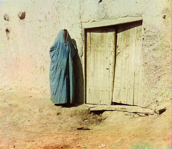 "Sart woman in purdah in Samarkand, Uzbekistan, ca. 1910. Until the Russian revolution of 1917, ""Sart"" was the name for Uzbeks living in Kazakhstan."
