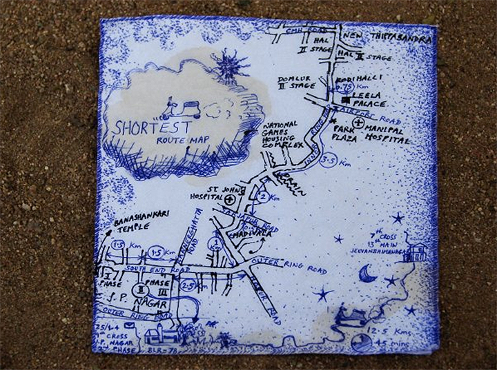 """""""This is a map showing a part of Bangalore in India. I did it behind a napkin for a friend who was on a bike."""" -Rashmi"""