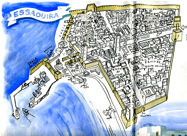 Enrique created this map while visiting the city of Essaouira. He was compelled to create the drawing after three days of consistently getting lost in the city. After drawing the map, he realized how easy the city was to navigate - two main streets with four separate neighborhoods and the sea always available as a directional reference.