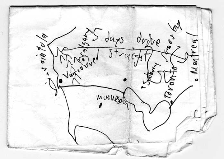 This map was drawn on a napkin in a bar in Trondheim, Norway by the Canadian Artist Peter Flemming, when explaining about Canada. Lars kept the map in his bag for weeks and later found it and scanned it.