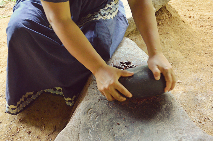 Traditional bean grinding process