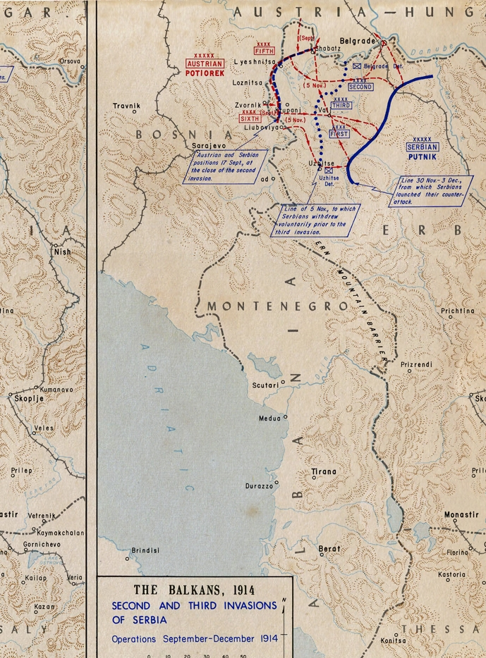 Map showing the invasion of Serbia, September-December 1914.