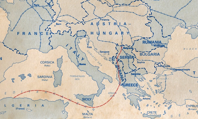Map showing Anka's path from Serbia to Algeria