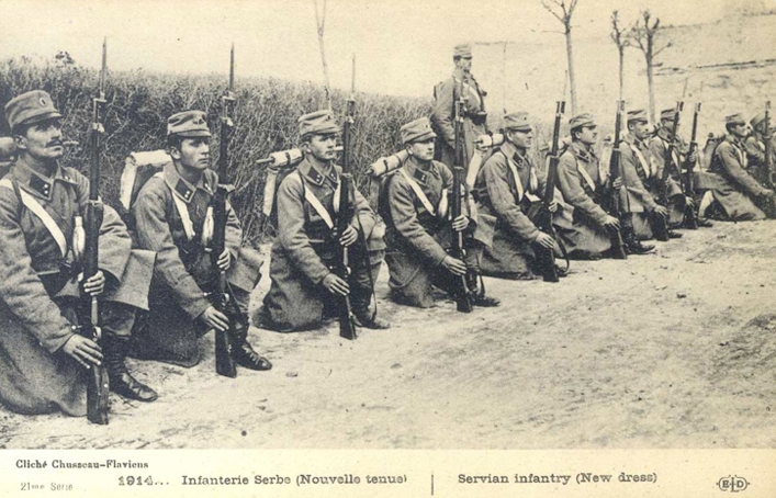 Serbian Infantry in new uniforms, 1914 (Source: National Library of Serbia, digital archives)
