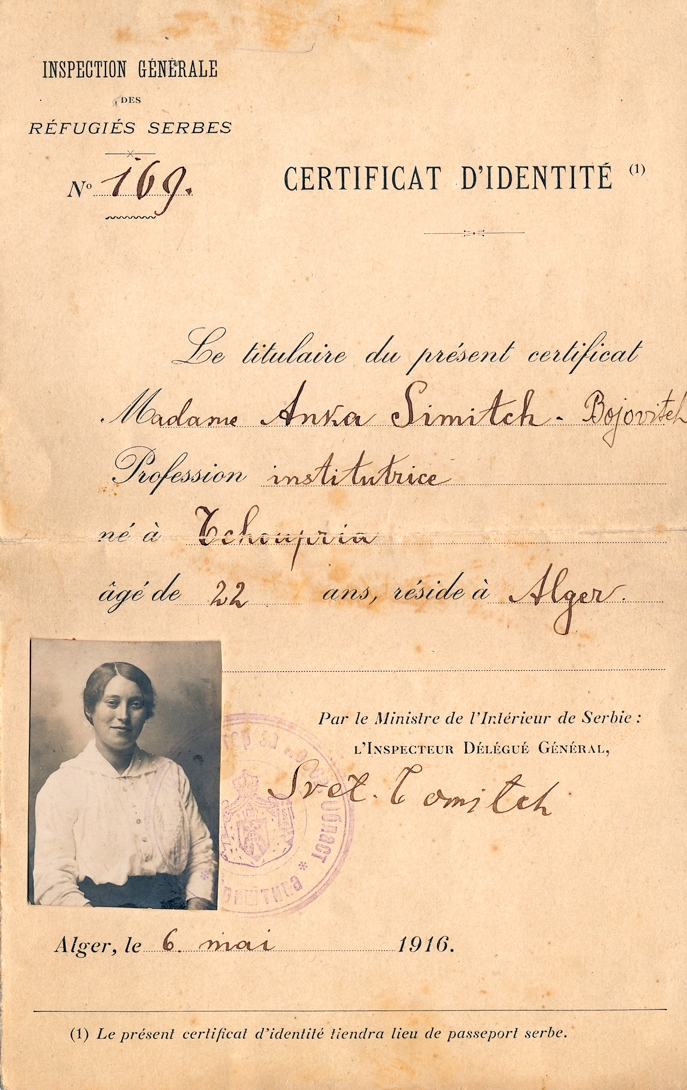 Anka Simic Certificate of Identity (in lieu of a passport) issued in Algiers on May 6, 1916.