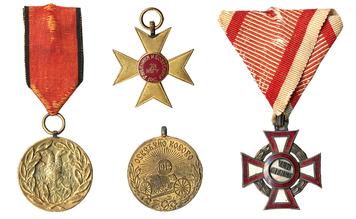 Medals Anka received in the Balkan and First World Wars.