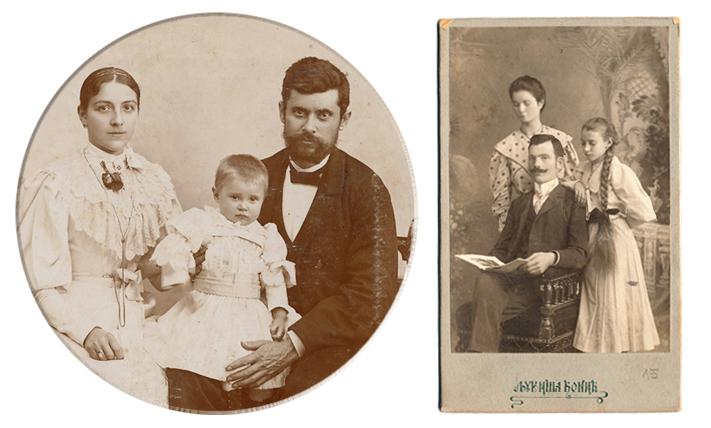 Left:  Anka as an infant with her father Radule and mother Jelena, Belgrade May 21, 1895 (Photo by Milan Jovanović, Royal court photographer). Right: Ivanka (far right) with relatives in Belgrade (Photo by Ljubiša Ćonić, from the Janićijević family album)
