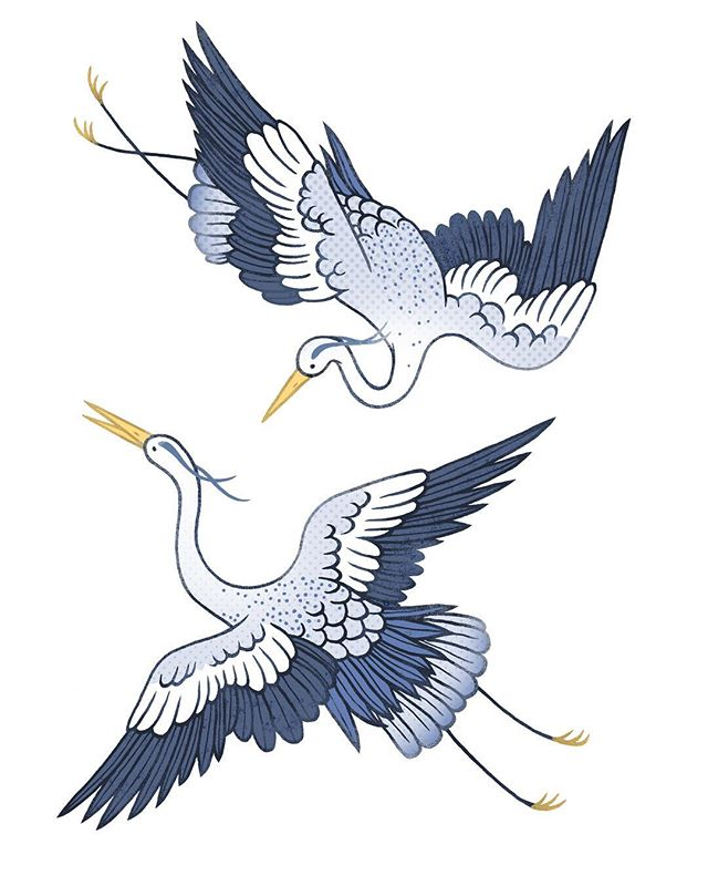 Blue herons for a card I made this year ✨