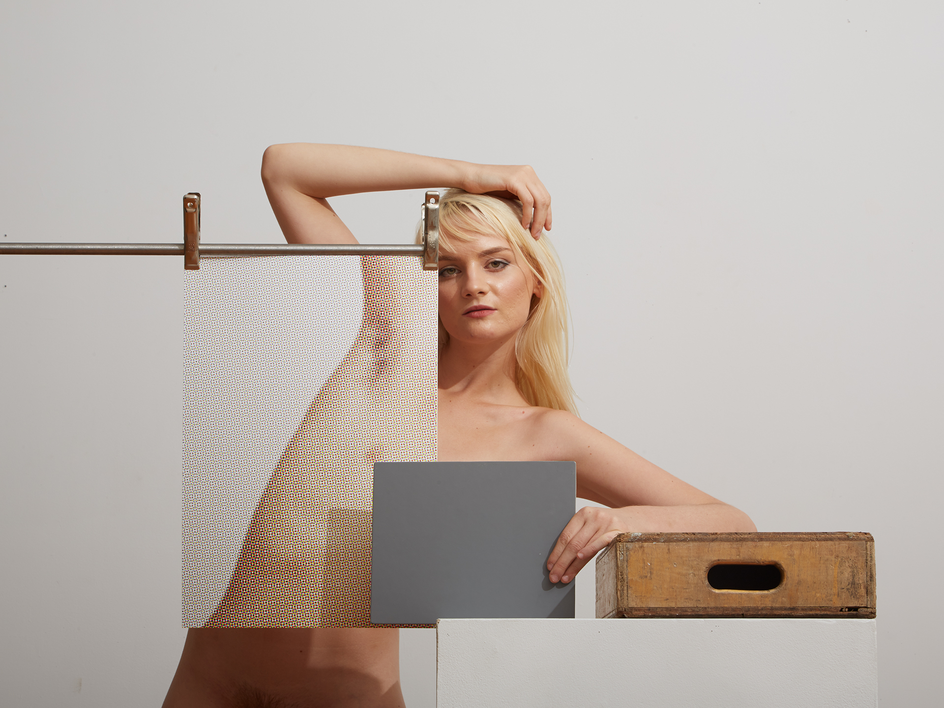 Erin with Halftone Self Portrait and Half Apple Box  2015
