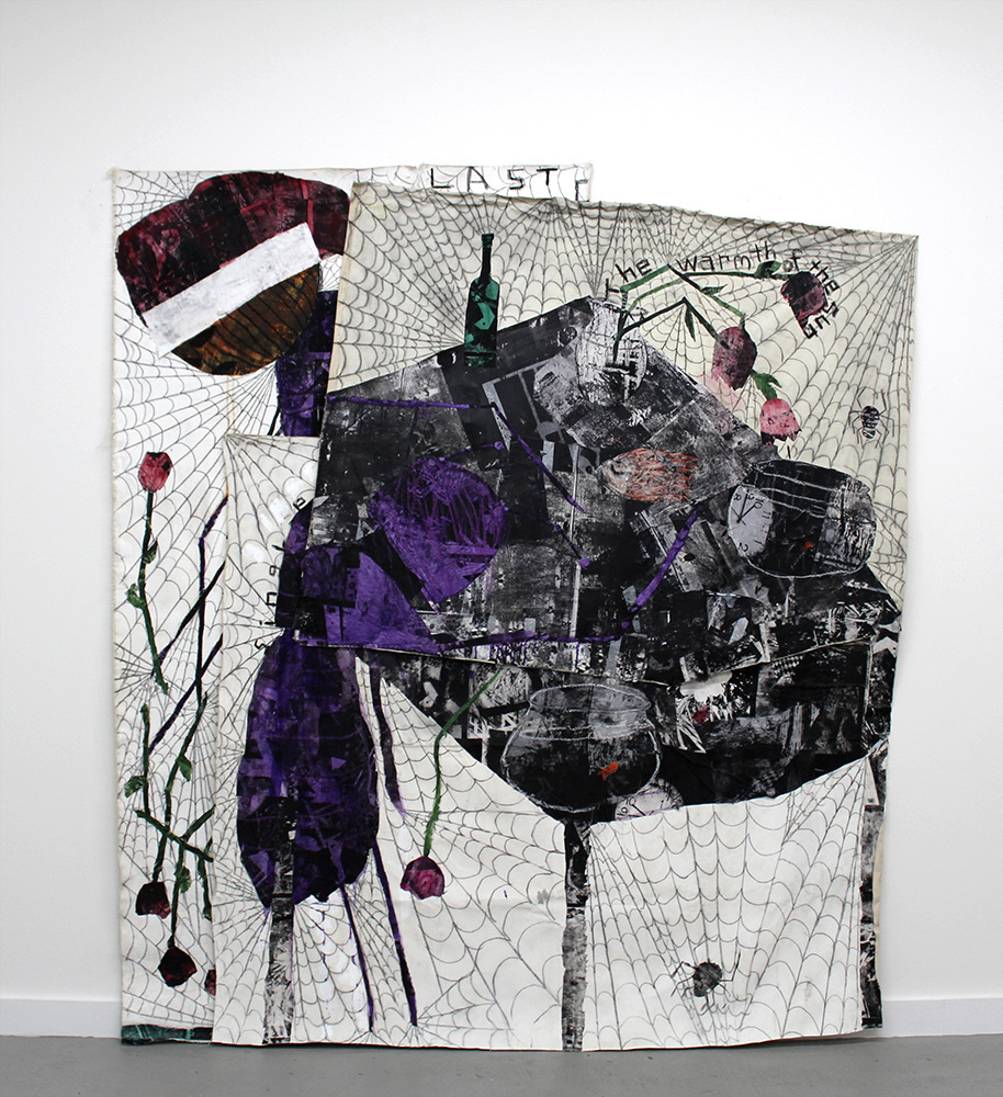 Fernando Pintado, The Warmth of the Sun, 2017. Acrylic, silkscreen, fabric collage, charcoal and oil pastel on canvas; 84 x 75 inches