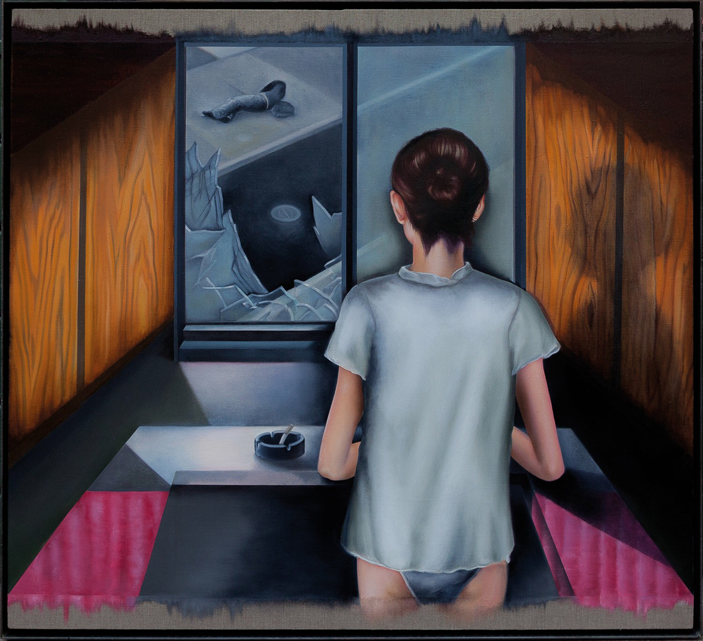 Window and Solace, 2016-2017 -Oil on linen with steel frame -  40 x 36 in   (101.6 x 91.4 cm)
