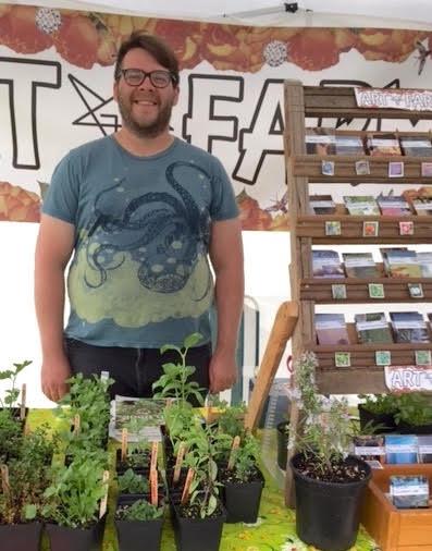 Luke Borisenko of Artfarm at James Bay Community Market. Photo by Linda chan and Marion Yas