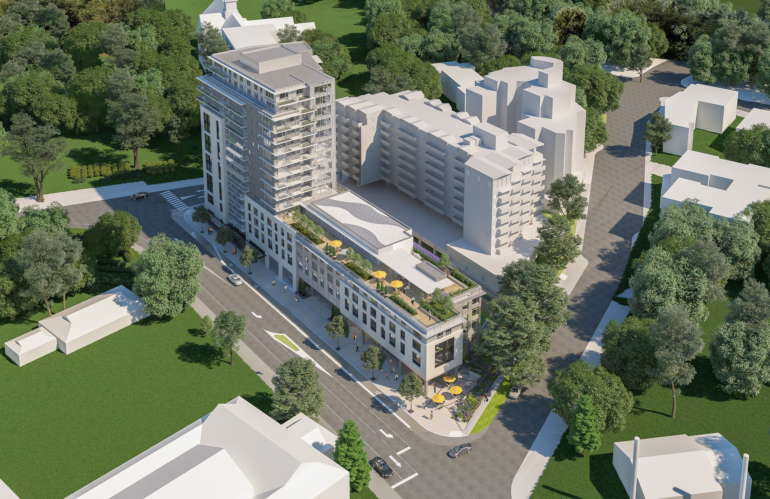Architectural design of the seniors housing project approved for Belleville Street. Image courtesy of Concert Properties