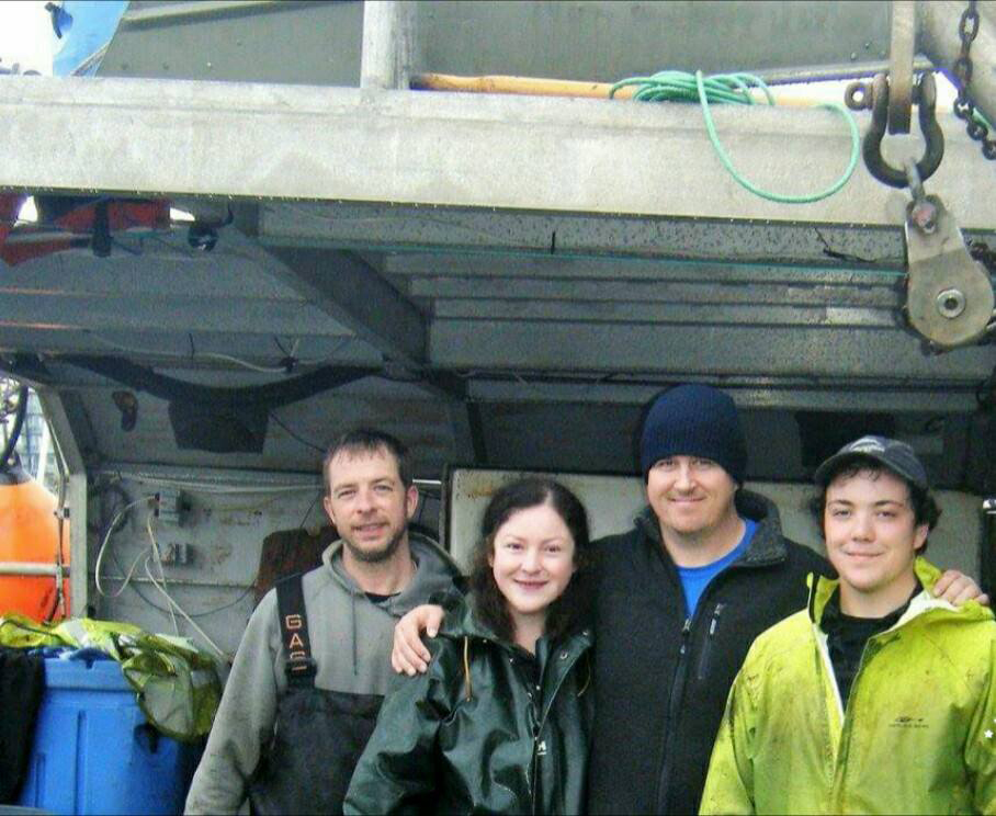 """From left to right: Nathan Wilson, Rose Brewer, William Woodbury, Alec Fraumeni. They're the crew on the """"Nordic Spirit"""" fishing vessel. Photo by Rose Brewer"""