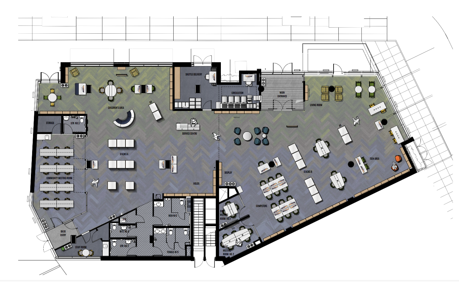 Image Caption  :   Architect's plan of the sxʷe    ŋ'    xʷəŋ ta    ŋ'    exw James Bay Branch Library. The children's area is in the top left, while the teen area is on the bottom right, just below the laptop bar and mobile charging stations. Library assistance is provided from the central desk, while circulation is at the top centre. The main set of 12 computer stations are near centre bottom. The larger meeting room has seating for 24 and can be separated from the main library through vertically sliding dividers. The other meeting rooms are just to left of the computer stations. Image provided by GVPL