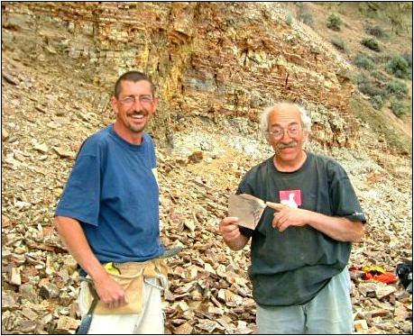 Scientists John Leahy (left) and David Langevin (right) collected fossils near Cache Lake. All photos in this article provided by the author and used by permission from the Royal BC Museum Flickr account.