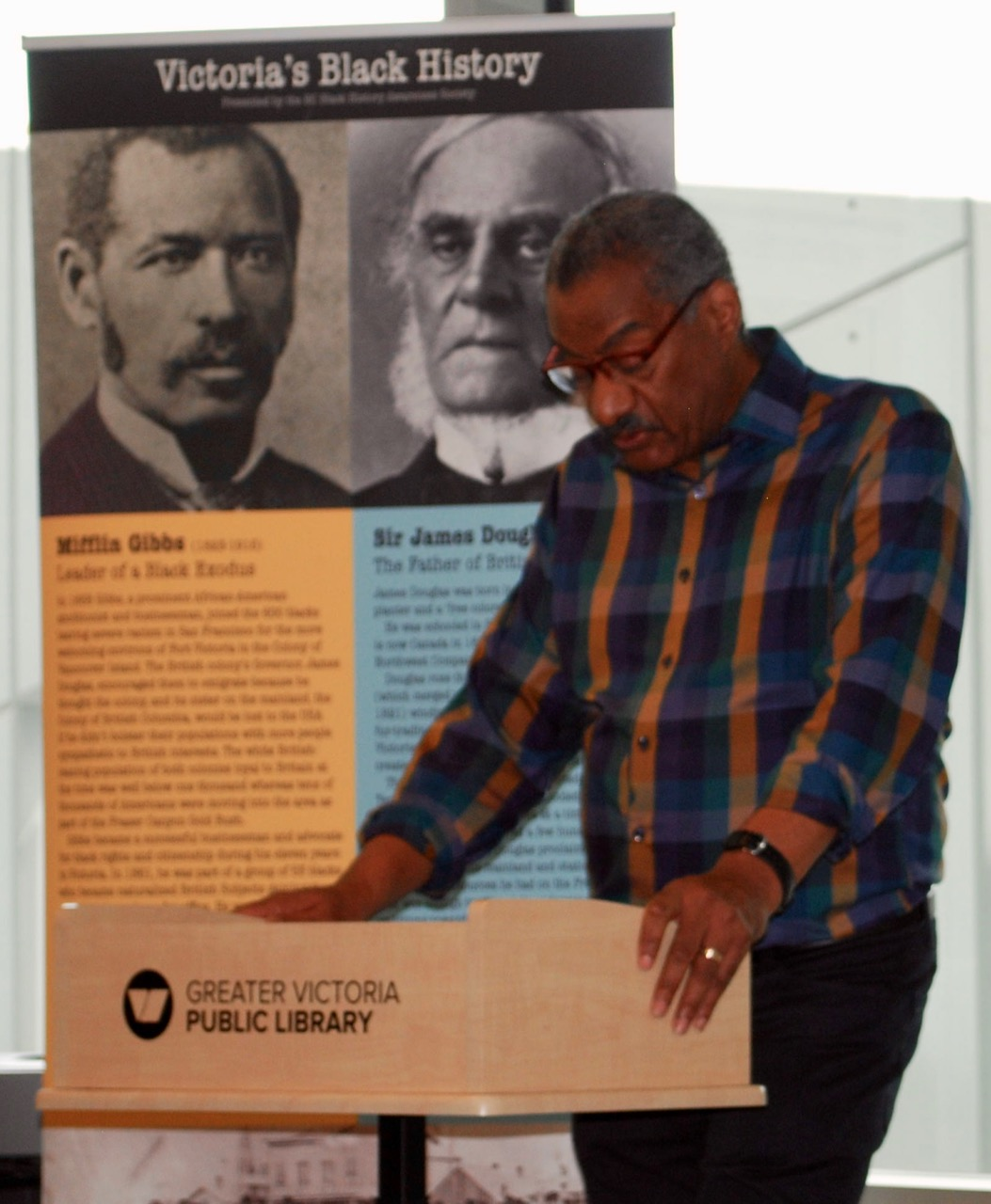 BC Black History Awareness Director Ron Nicholson speaks of the historical importance of Mifflin Wistar Gibbs. Photo by Robert Hawkes.