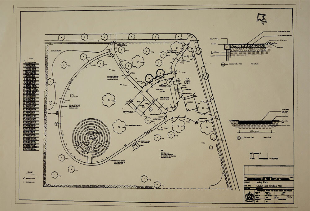 """City of Victoria diagram of Irving Park with a labyrinth in its western corner. The """"Irving Park Layout and Grading Plan"""" (title, lower right) accompanied Deborah Bate's August 14, 1998 letter to Candis Elliott from the Engineering & Parks Department of the City of Victoria (Loeppky archive)."""